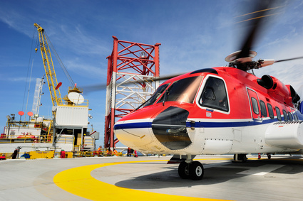 The offshore helicopter at an oil rig